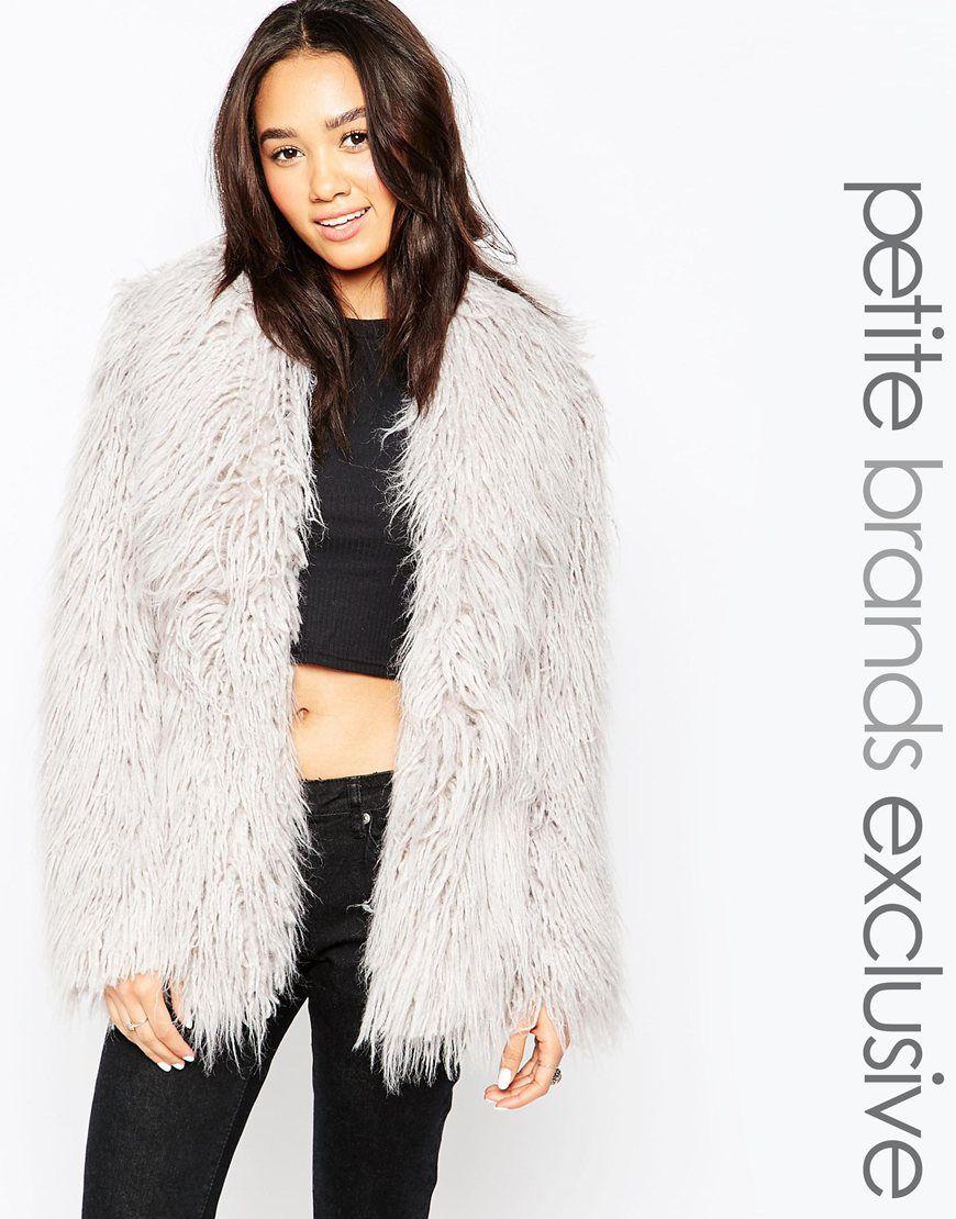 Glamorous Petite Shaggy Faux Fur Coat | Coats, Models and Mantels