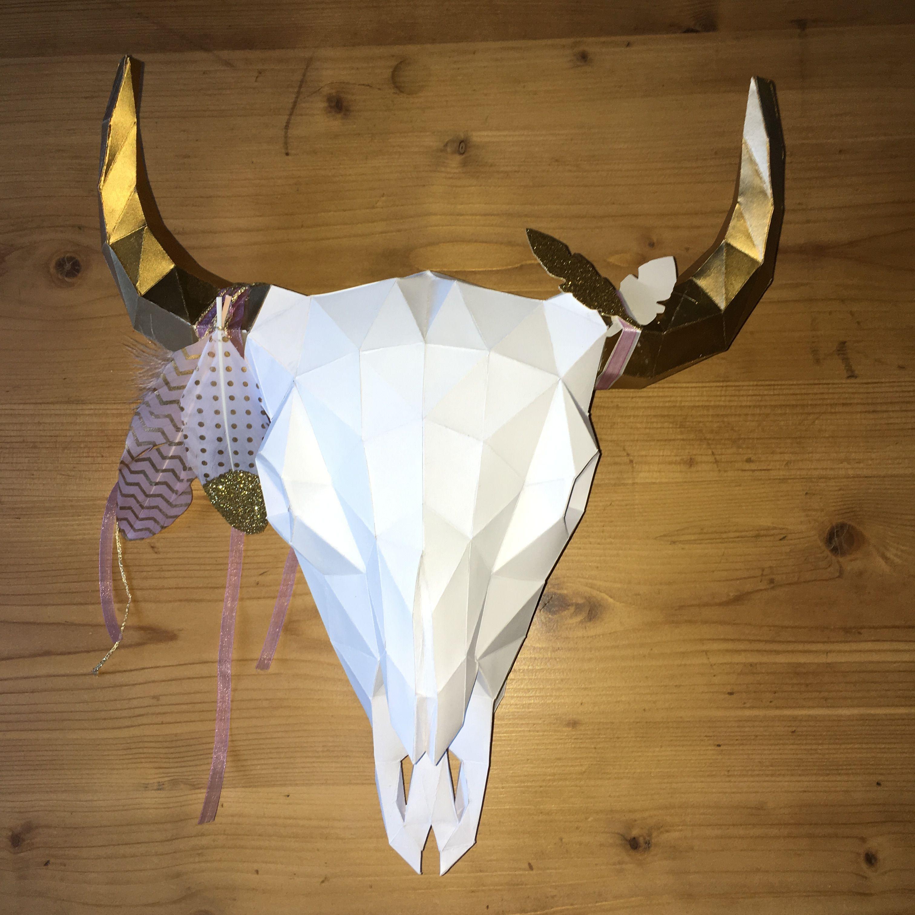 buffalo skull papercraft t te de bison troph e trophy cr ation by myself pinterest. Black Bedroom Furniture Sets. Home Design Ideas