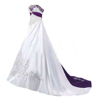 White And Purple Wedding Dresses Plus Size Satin Embroidery Beaded Bridal Gown Purple Wedding Dress Long Vintage Wedding Dress Wedding Dresses Beaded