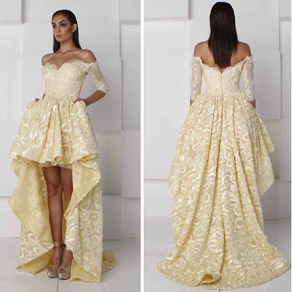 Click to buy ucuc charming pale yellow off the shoulder sweetheart