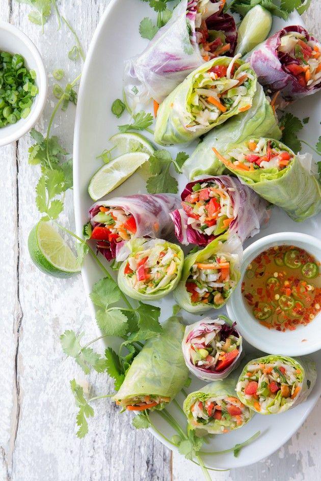 Ikke lige denne måske men ide til tilbehør til bøf, laks etc. Chinese Salad Spring Rolls | Bakers Royale