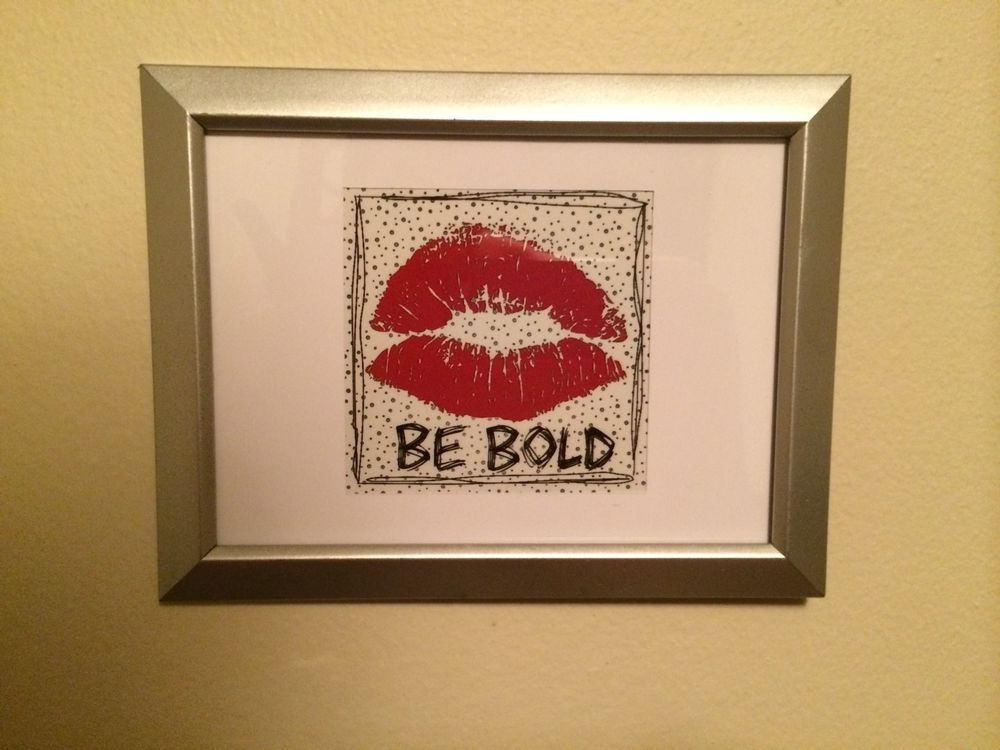Be Bold 4x4 framed Instagram art print, bedroom bathroom decor, red ...