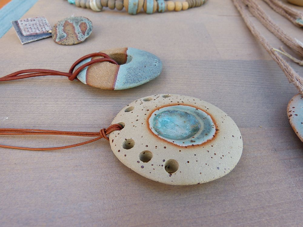 Raku beads blue glaze a set decorations country beads,Raku ceramics A set of 7 ceramic beads clay decoration,striped beads African