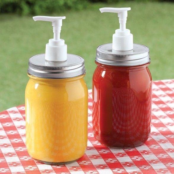 Set Of 2 Mason Jar Condiment Dispenser Bbq Barbecue Party