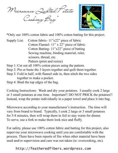 Potato Bag Instruction Card Crafts Pinterest Potato Bag And