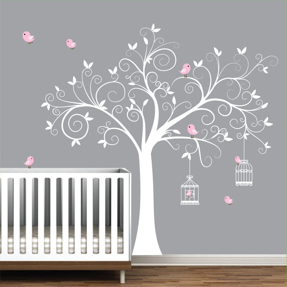 tree wall decal birdcages with birds baby room decal tree on wall stickers id=37253