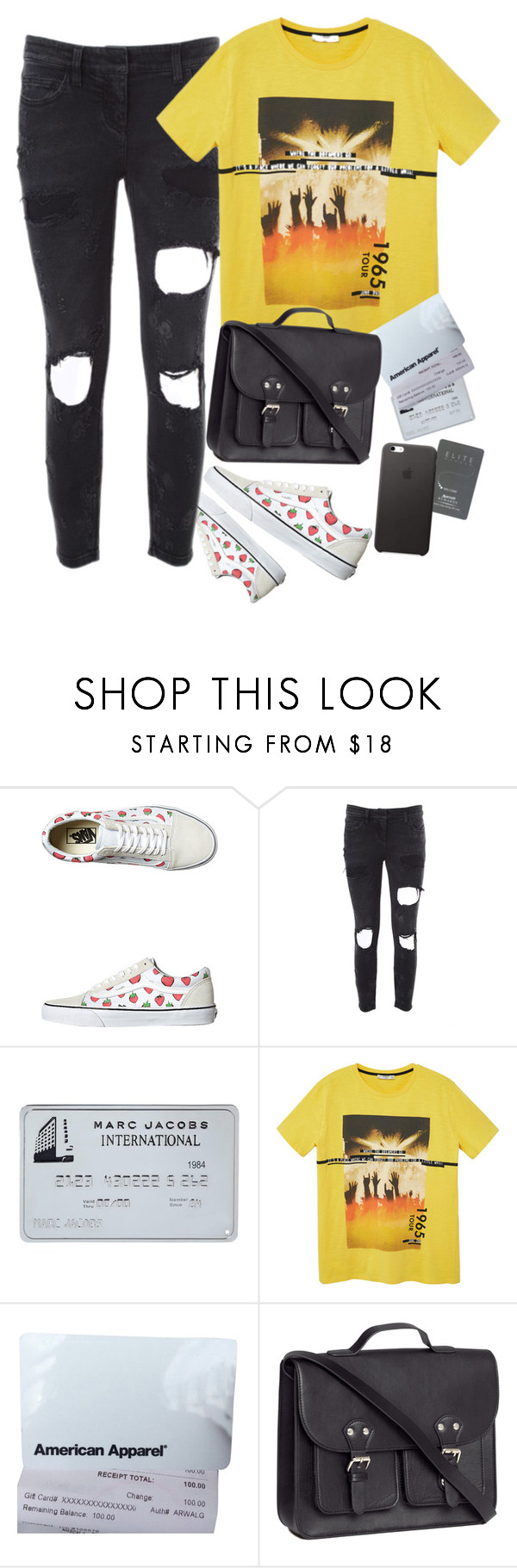 """Senses"" by pizzarolls ❤ liked on Polyvore featuring Vans, Faith Connexion, MANGO, American Apparel, H&M, vintage, vans, sanfrancisco and apple"