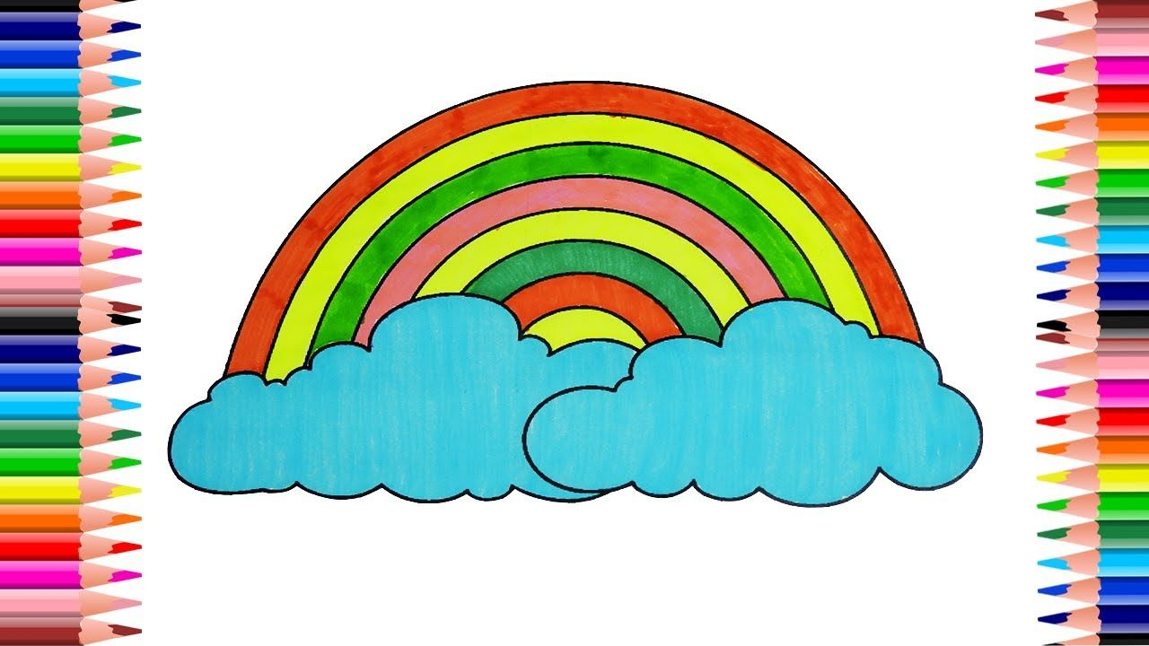 How To Draw Rainbow Cloud Drawing For Children Coloring Page