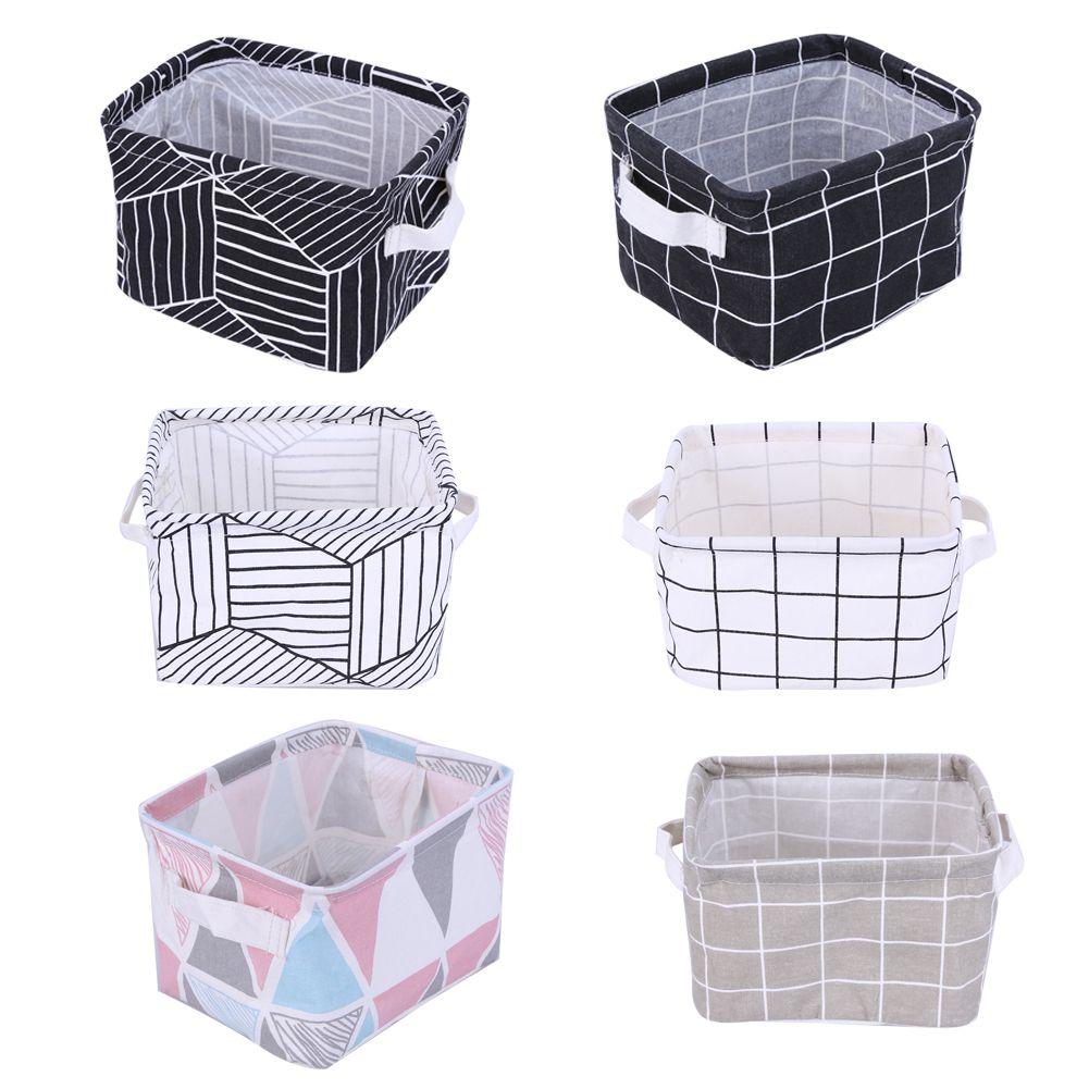 office storage baskets. Cotton Linen Office Storage Box Desk Organizer Small Geometric Portable Change Earphone Cable Holder #Affiliate Baskets