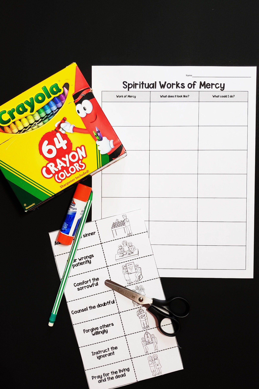 Printable Activity Spiritual Works Of Mercy Sort In