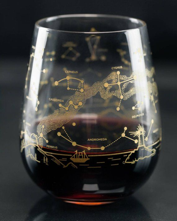 Space Constellation Stemless Wine Glasses, Astronomy Gifts, Christmas Wine Glass Gift Set, Northern