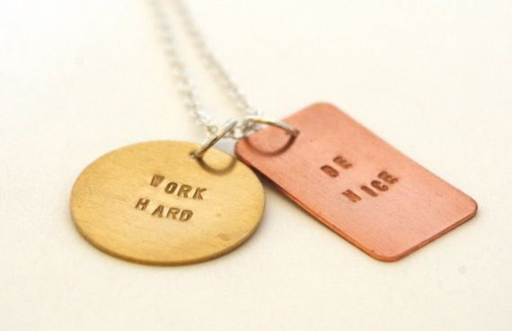 Hand Stamped Necklace - Mixed Metal - Inspiring Quote. $25.00, via Etsy.
