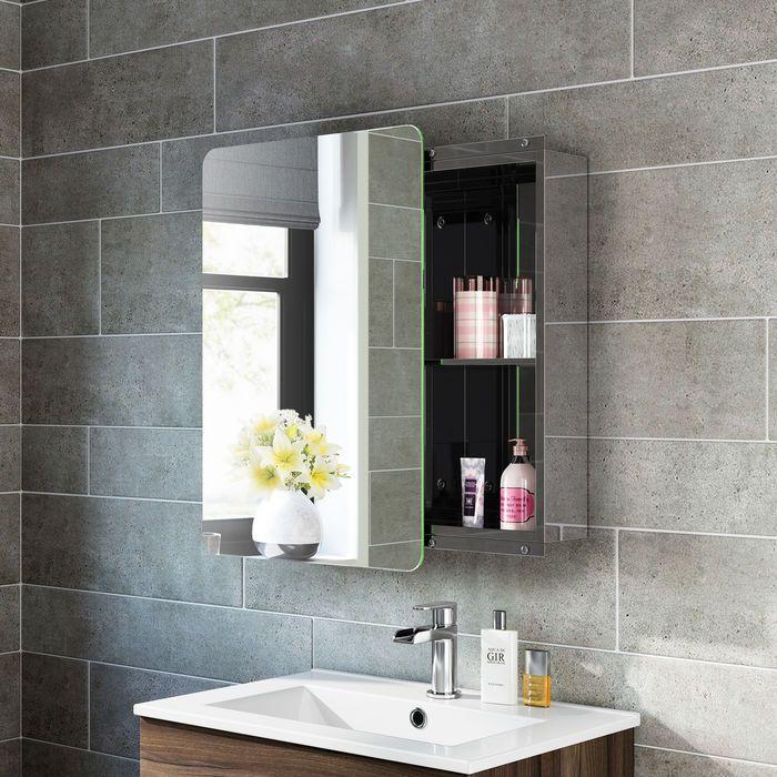 660x460mm Liberty Stainless Steel Sliding Door Mirror Cabinet