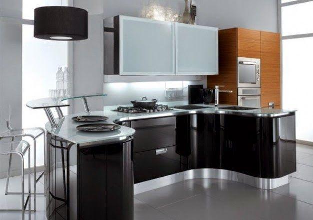 Desain Dapur Mewah Kitchen Set Hitam Putih