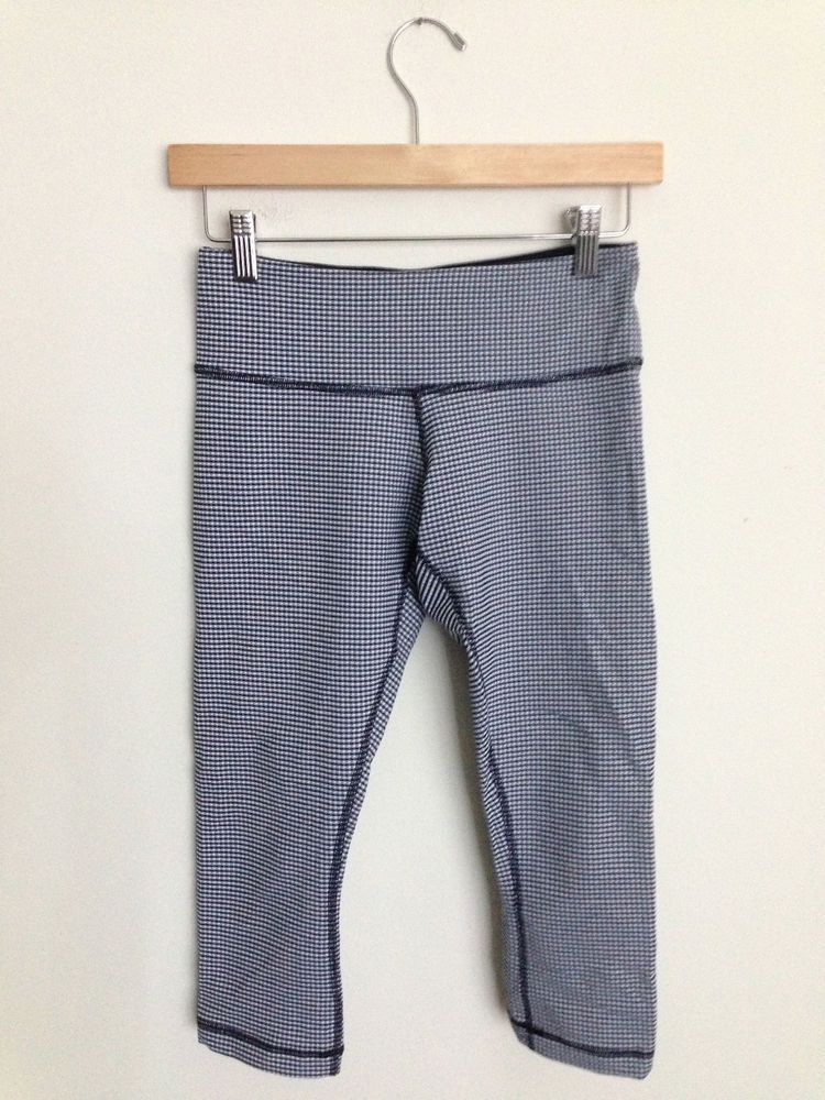 feda648a6eabb3 Lululemon Wunder Under Crop Pant Gingham Blue White Mini Checker Size 4 # Lululemon #PantsTightsLeggings