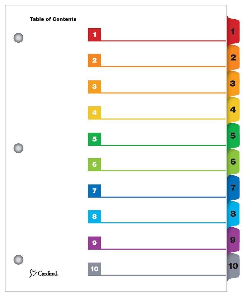 10 Tab Divider Template Raptor Redmini Co Pertaining To 8 Tab Divider Template Word Sample Professional Temp Table Of Contents Template Word Template Words