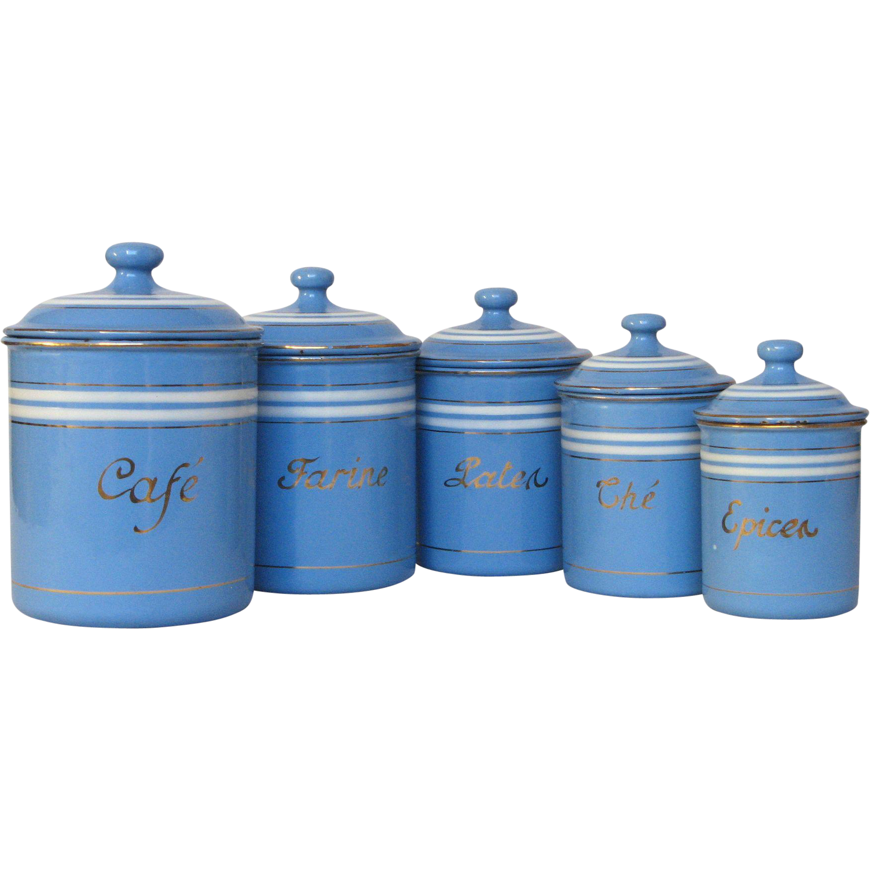 Set of Sky Blue French Enamel Graniteware Kitchen Canisters ...
