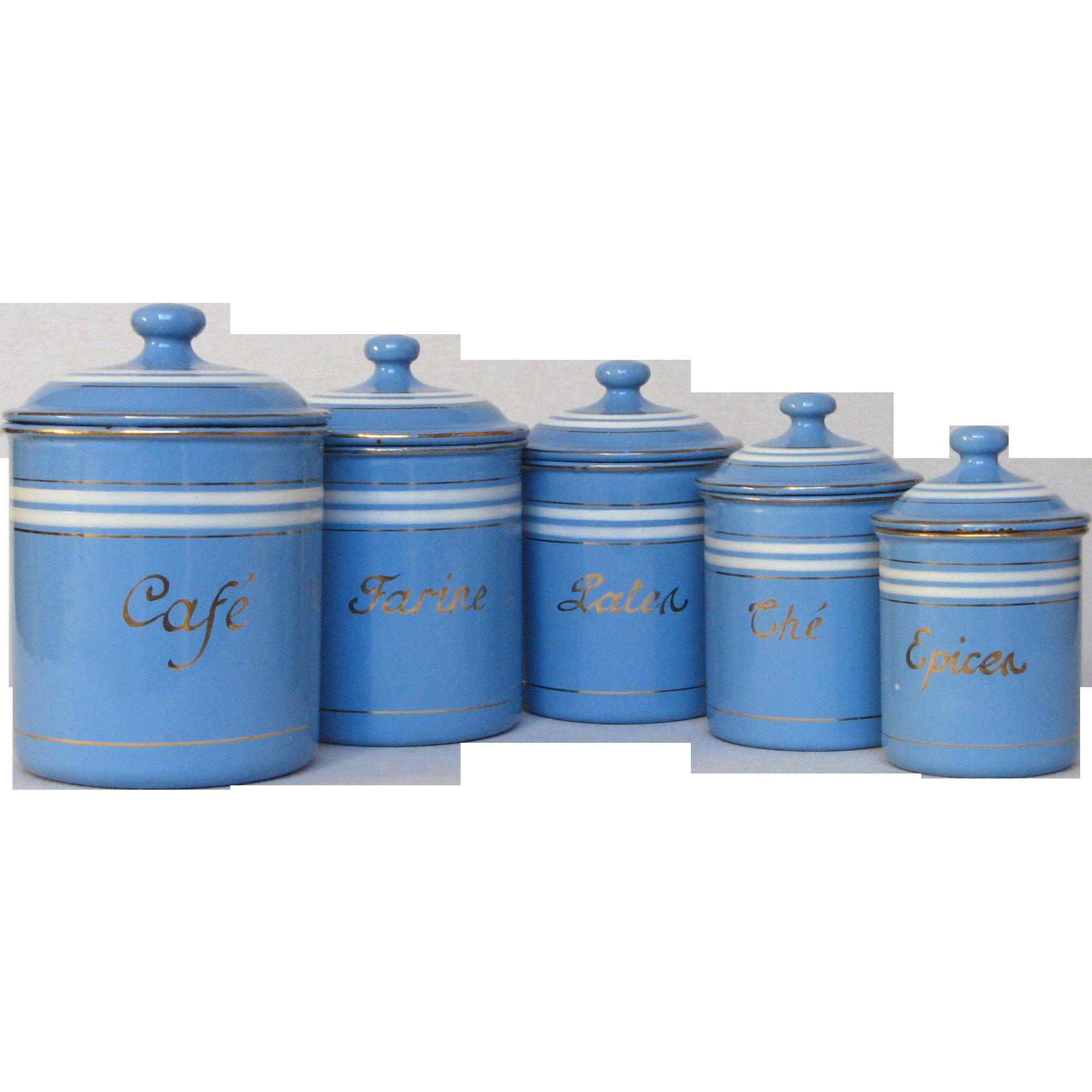 Nice #Rubylane @rubylanecom Set Of Sky Blue French Enamel Graniteware Kitchen  Canisters