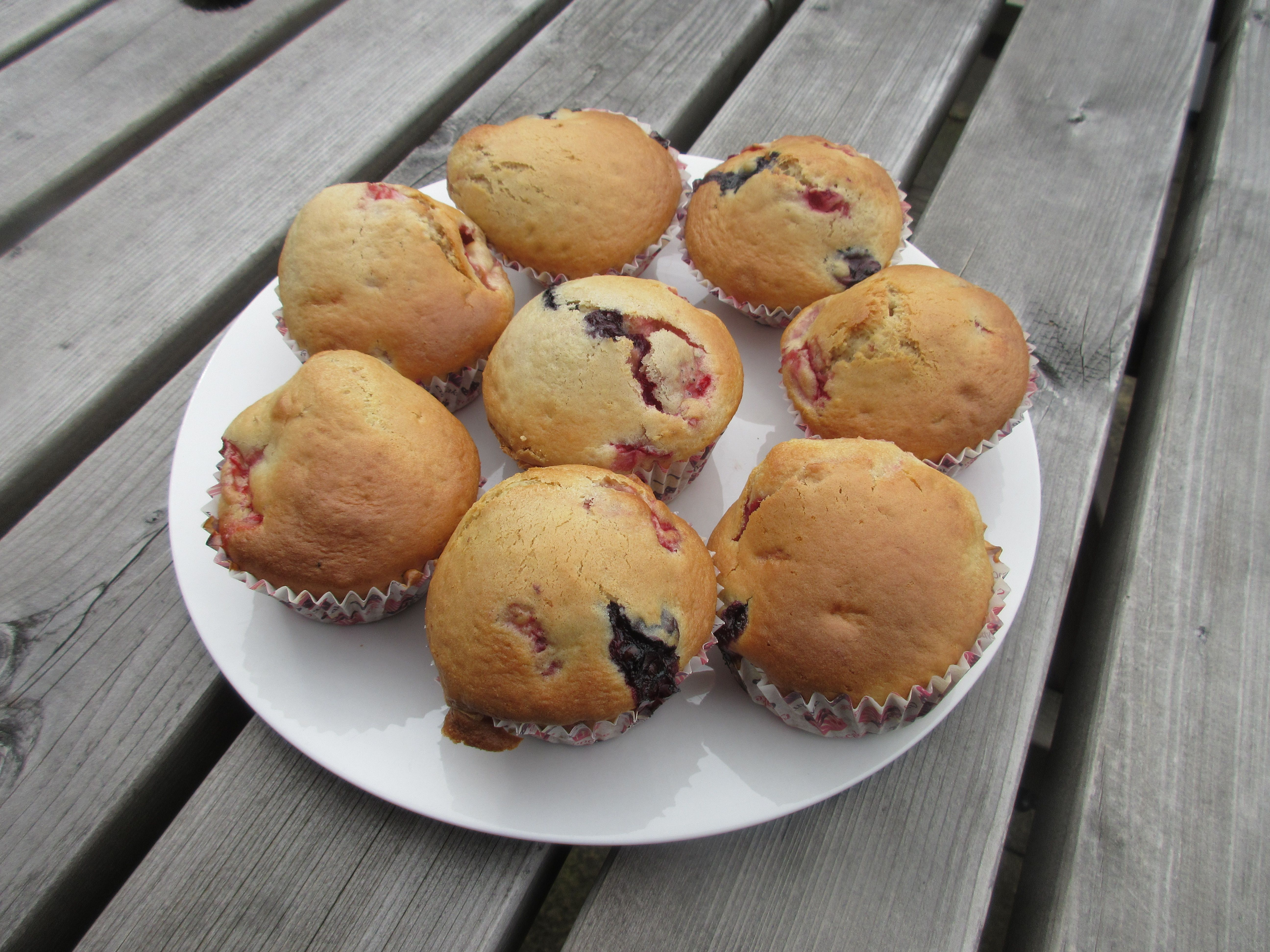 Berry Muffins. We had a pink and purple bake off as part of World Autism Awareness Week 2016. We tried to be a bit healthy with our cakes so the colour came from blueberries and strawberries.