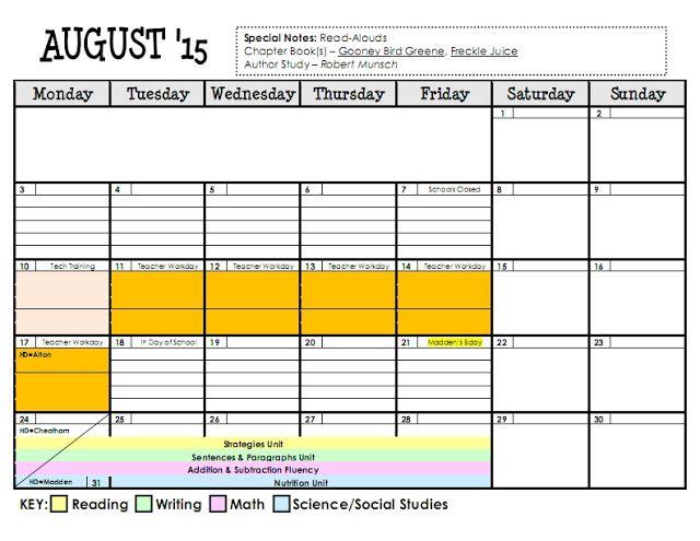 Lesson Plan Series {The Planning Calendar} Planning calendar