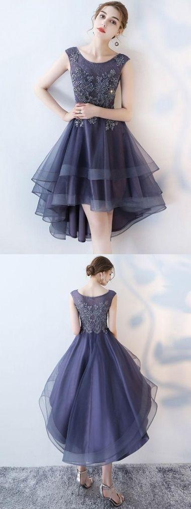 High Low Abiballkleider/Abendkleider U-Ausschnitt asymmetrisch lange Spitze Abendkleider Sexy Abendkleider JKL482 #eveningdresses
