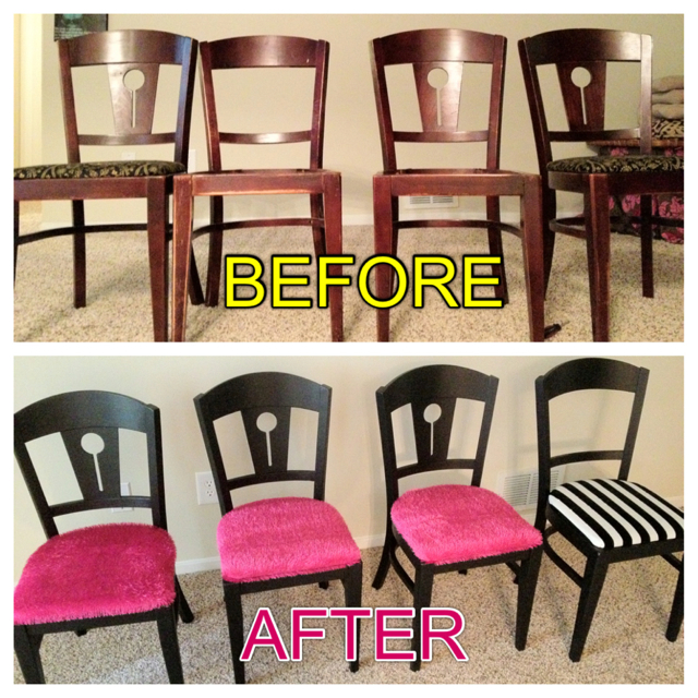I Painted Them All Satin Black U0026 Changed The Cushions. The Chairs With The  Pink Shag Cushions Are For My Kitchen Table And The Black And White Striped  ...