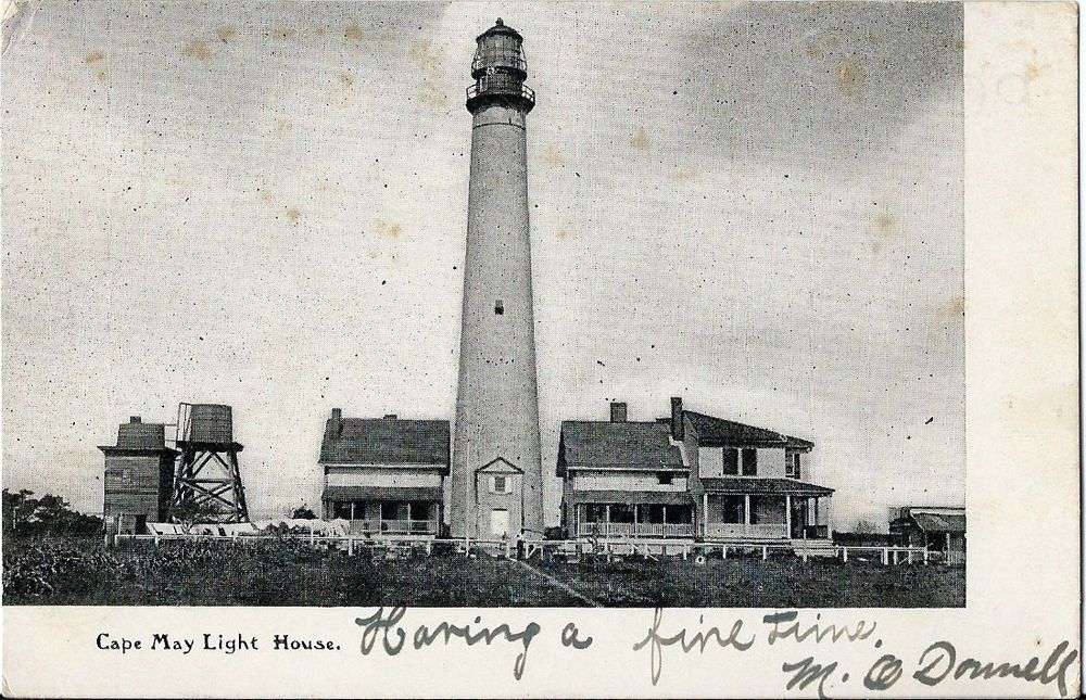 New jersey photo postcard: 1907 lighthouse & homes - cape may, nj ...