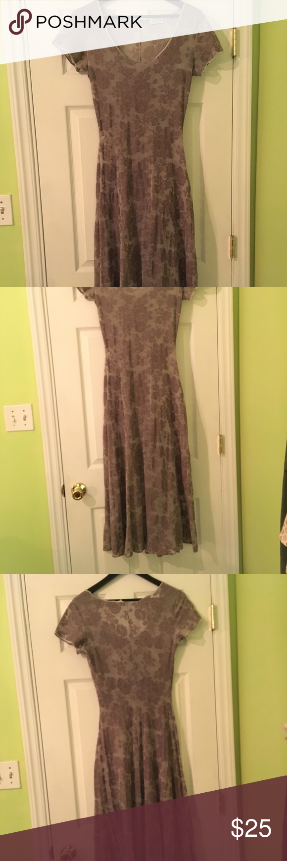 Saks Fifth Avenue Grey Floral Lace Maxi Dress Grey Floral Lace