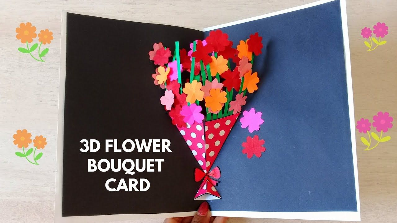 Diy Flower Bouquet Pop Up Card Paper Crafts 3d Pop Up Card
