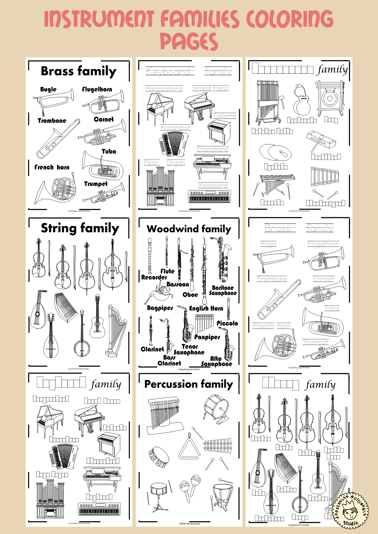 Instrument Families Coloring Pages Musicalinstruments