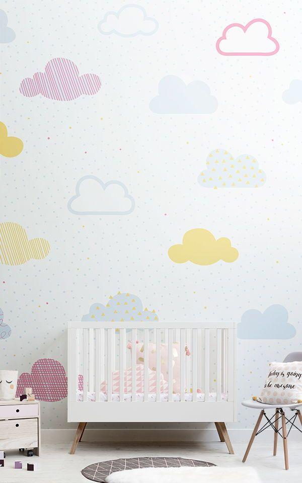 Kids Bright Pastel Clouds Wall Mural Yellow nursery