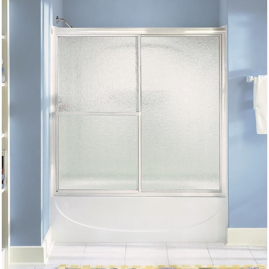 Sterling Deluxe 56 25 In H X 54 375 In To 59 375 In W Framed Bypass Sliding Silver Shower Door Lowes Com Shower Doors Bypass Sliding Shower Doors Sliding Shower Door