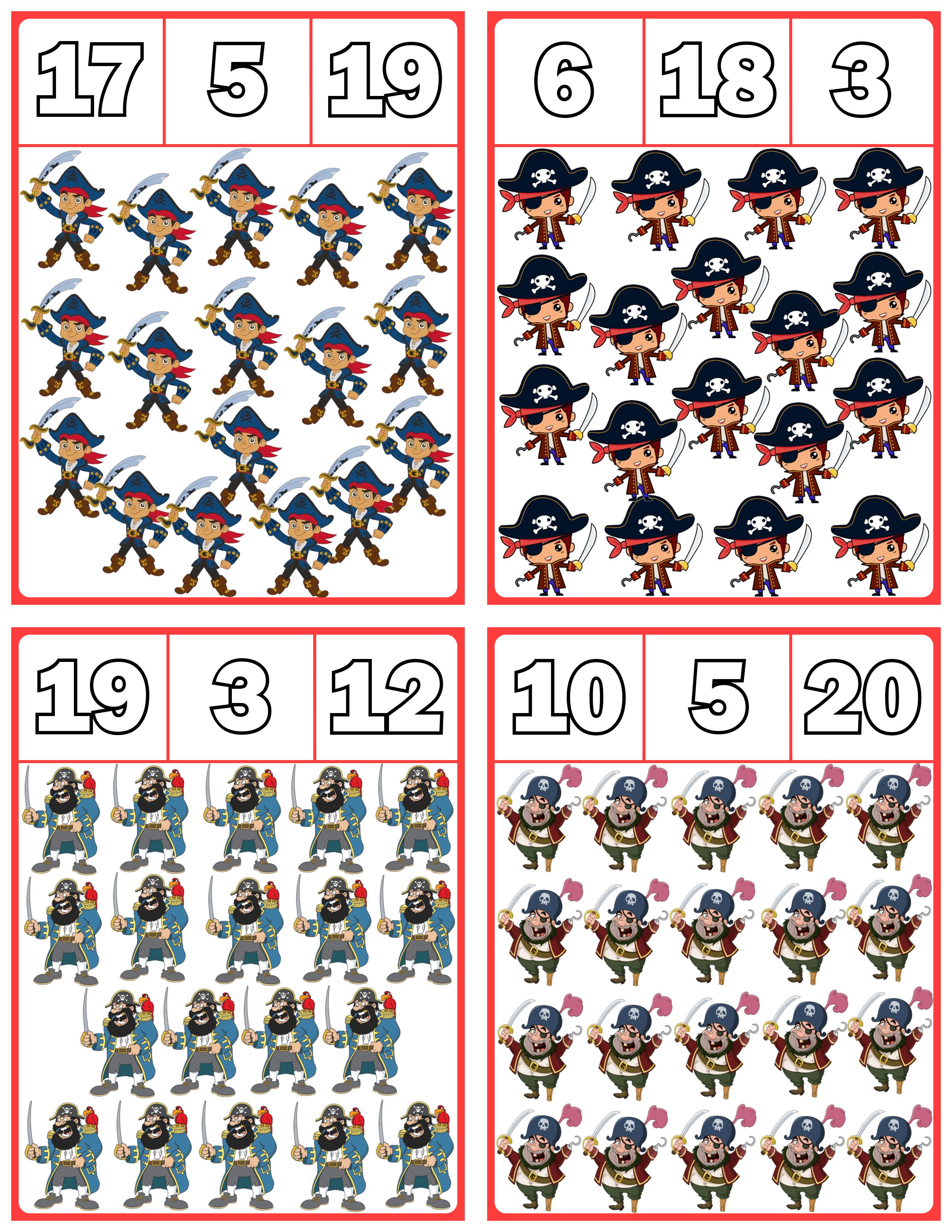 Pirate Clip Cards Numbers 1 20 Math For Kids Shape Activities Preschool Kids Math Worksheets [ 3300 x 2550 Pixel ]