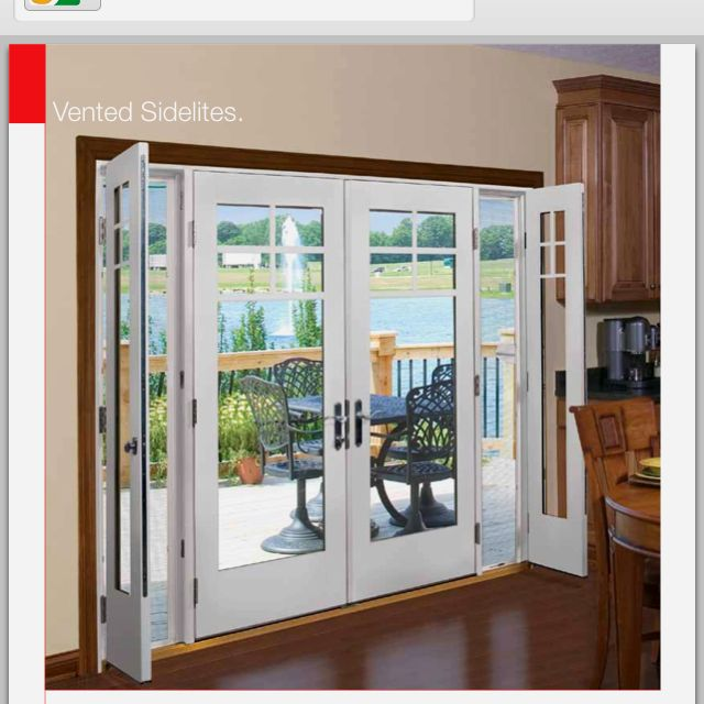 Lovely Patio Doors With Small Opening Side Windows Too Big For The Existing Opening,  But Cool Idea