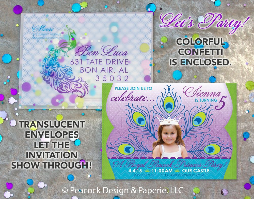 Peacock Princess Birthday Party 5 Year Old Invitation Girl Little Confetti Translucent Envelope Teal
