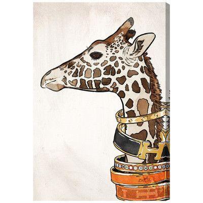 Willa Arlo Interiors Luxurious Giraffe Graphic Art On Wrapped Canvas Size 24 H X 16 W X 1 5 D Giraffe Wall Art Zebra Canvas Animal Wall Art