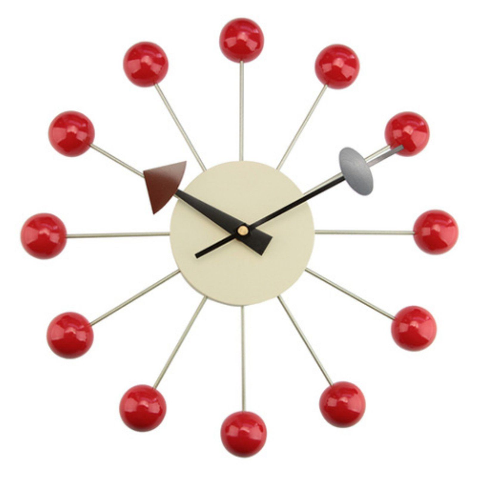 Kardiel George Nelson Style Ball Clock Red Nelson Ball Clock George Nelson Wall Clock Nelson Clock