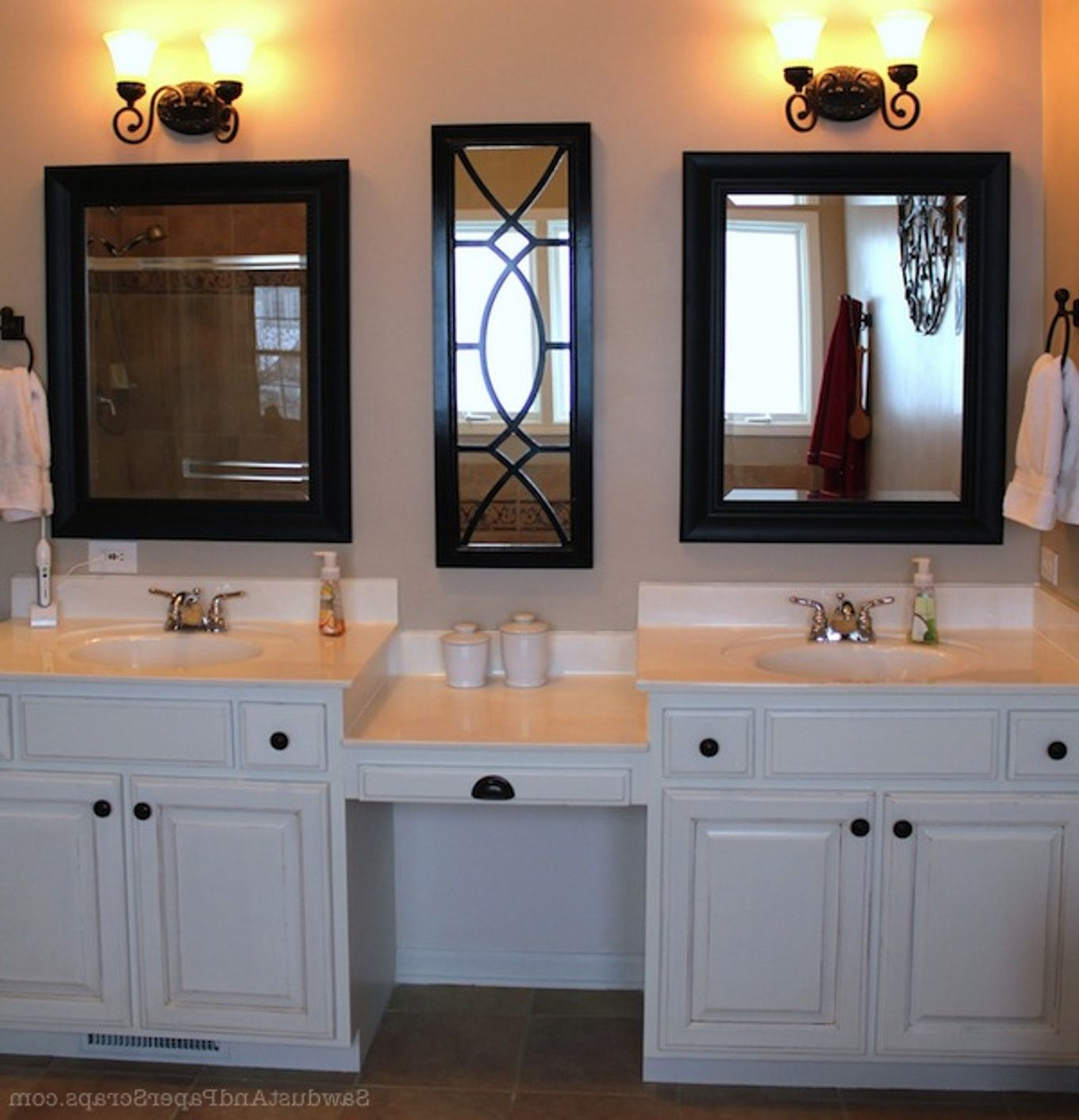 Bathroom Vanitieswonderful Master Bath With Makeup Area Double Sink