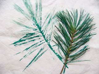 Stamping Pine Needles And Pine Cones Onto Natural Dyed Fabric Fabric Stamping Nature Crafts Pine Needles