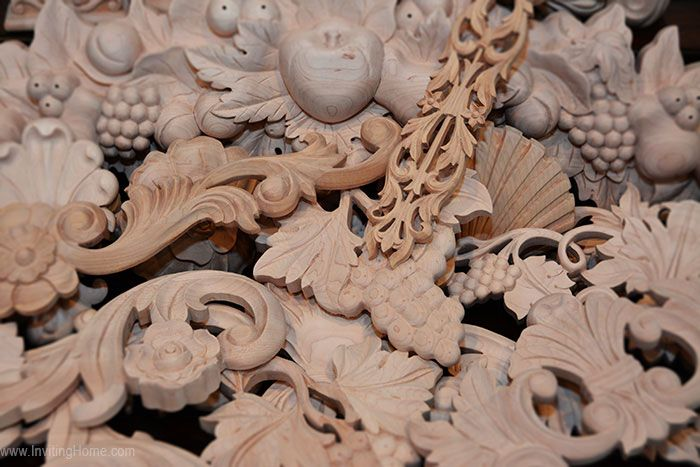 Wood carvings with grape design