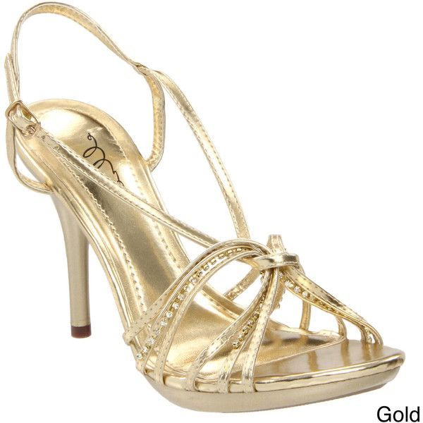 Ellie Women's '431-Knot' Stiletto Rhinestone Heels ($65) ❤ liked on Polyvore featuring shoes, pumps, gold, black strappy shoes, platform shoes, strap shoes, black stiletto shoes and rhinestone platform shoes
