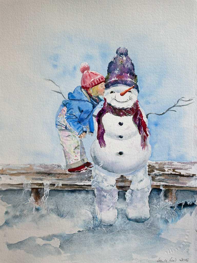 Besinnliche Weihnachtsbilder.Schneemann Aquarelle Für Eine Besinnliche Weihnachtszeit Lustige