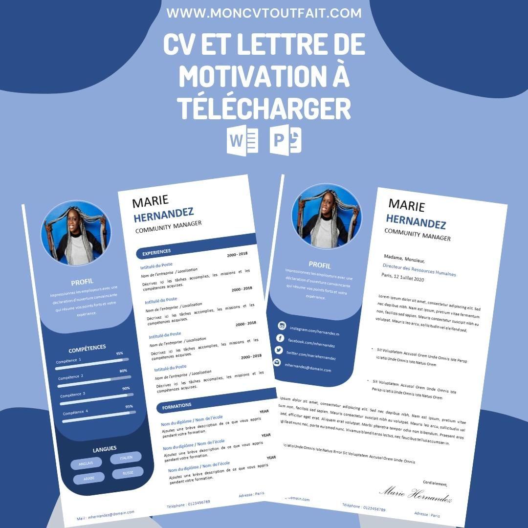 Cv Et Lettre De Motivation A Personaliser Modele Blueberry Video In 2021