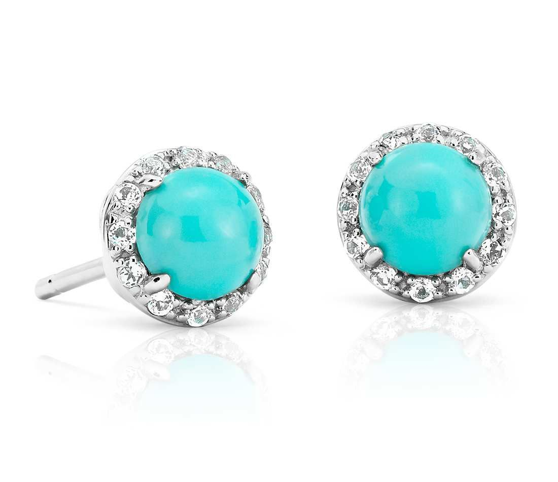 Natural Turquoise On Stud Earrings In 14k White Gold 5mm