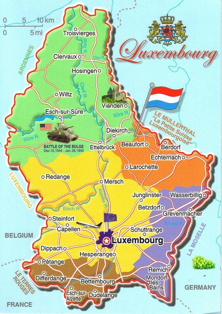 Luxembourg Map Postcard Luxembourg Map Belgium