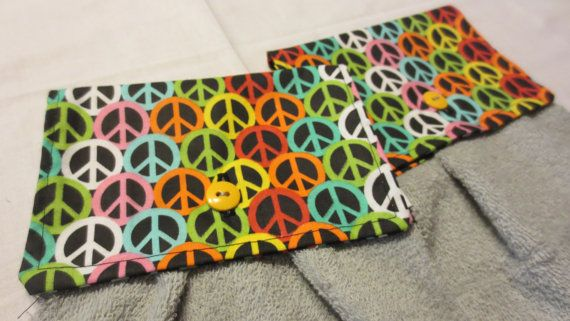 Hanging Hand Towel Kitchen Towel Peace Sign by JenniesSewCrafty