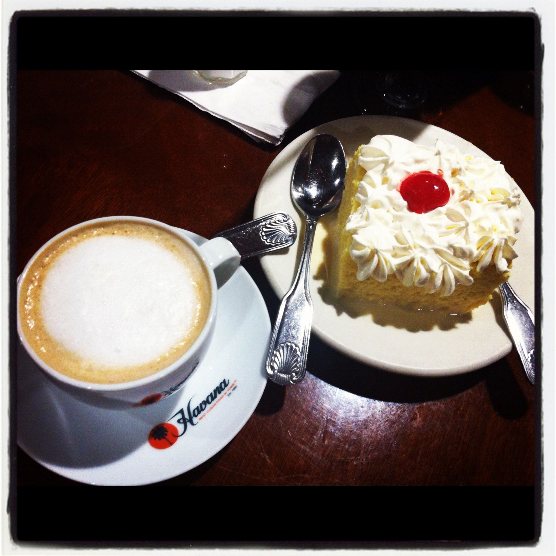 Cuban food: dessert for two. Just the right size, tres leches along ...