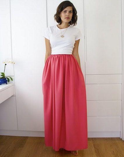 d701c7635 cómo hacer una falda larga | coser | Como hacer una falda, Faldas ...