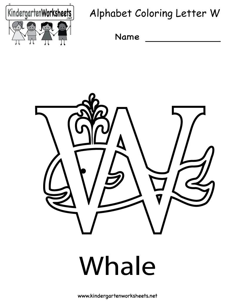 free letter w worksheets for kindergarten