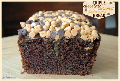 Triple Chocolate Caramel Butterscotch Bread @shugarysweets #recipe #dessert